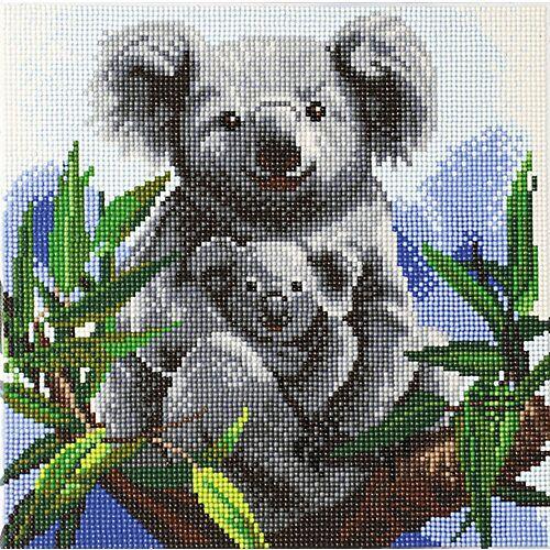 CRAFT Buddy Crystal Art Kit auf Holzrahmen-Leinwand - Koalas, 30 x 30 cm mehrfarbig