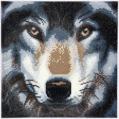 CRAFT Buddy Crystal Art Kit auf Holzrahmen-Leinwand - Wolf, 30 x 30 cm mehrfarbig