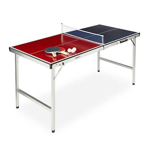 relaxdays Klappbare Tischtennisplatte mit Zubehör rot-kombi