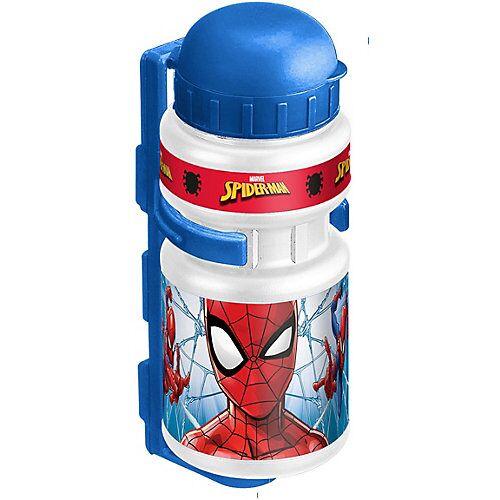 Stamp Trinkflasche Spiderman mit Halter, 350 ml blau