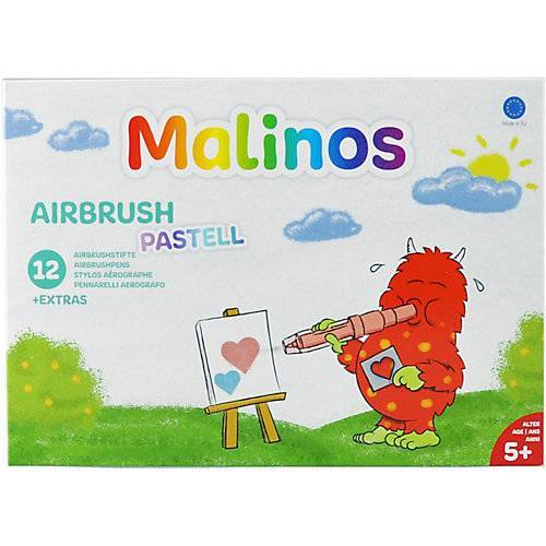Amewi Malinos Airbrush Pastell, 12 Stifte + 8 Schablonen