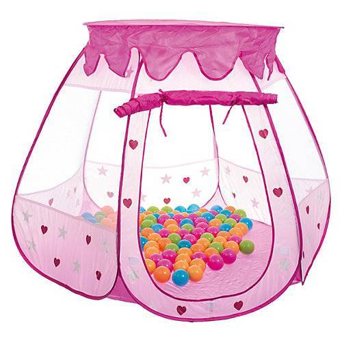 bieco Kinderzelt Bällebad Babyzelt Spielhaus Spielzelt inkl. 100 bunte Bälle & Tasche rosa