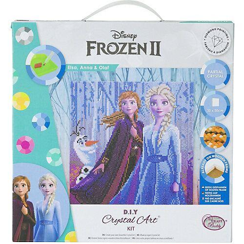 CRAFT Buddy Crystal Art Disney Frozen - Elsa, Anna & Olaf, 30 x 30 cm Kristallkunst-Kit