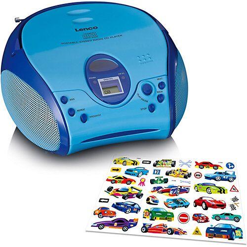 Lenco SCD-24BU Kids - Boombox CD-Player Kinder mit Radio und Stickern, blau  Kinder