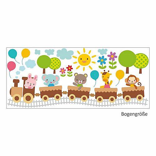 Wandtattoo 019 Wandtattoo Zug mit Tieren Hase Bär Elefant Giraffe Affe Ballons bunt