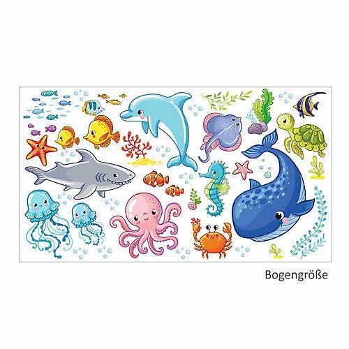 Wandtattoo 078 Wandtattoo Wasserwelten Kinderzimmer Wal Delfin Fische Hai Sticker bunt