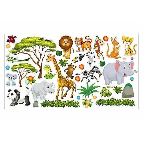 Wandtattoo 060 Wandtattoo Dschungel Tiere - 750 x 420 mm bunt