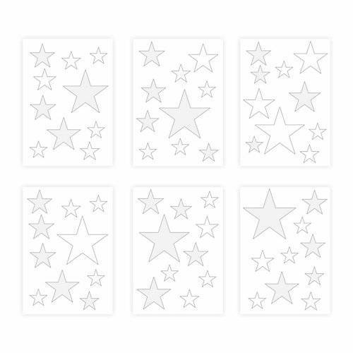 Wandtattoo 129-6 Wandtattoo Sterne-Set weiß-grau 60 Stück