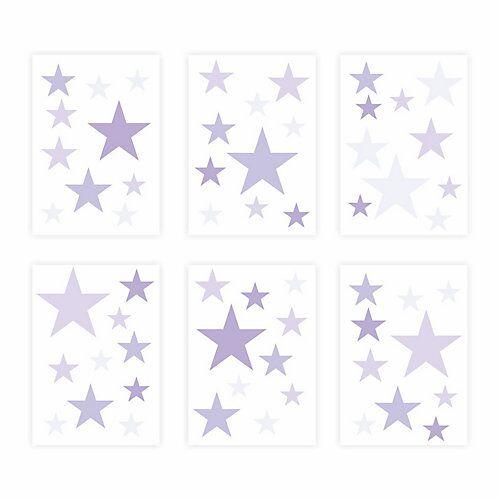 Wandtattoo 129-4 Wandtattoo Sterne-Set lila 60 Stück