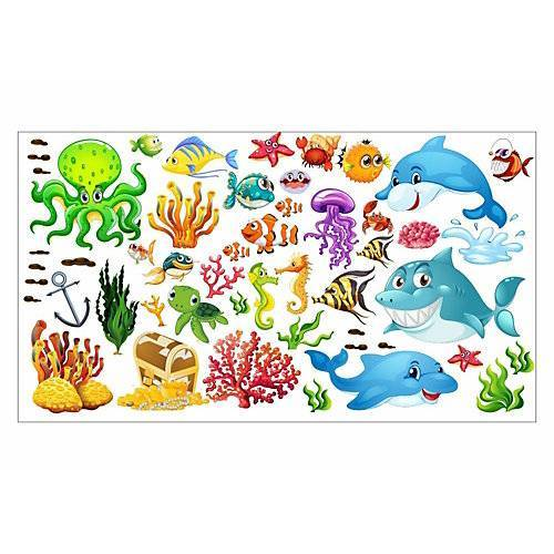 Wandtattoo 059 Wandtattoo Unterwasserwelt Fische Delfin Hai Korallen Nemo bunt