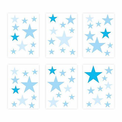 Wandtattoo 129-2 Wandtattoo Sterne-Set blau 60 Stück