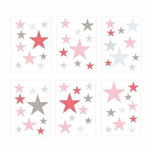 Wandtattoo 129-1 Wandtattoo Sterne-Set rosa pink 60 Stück