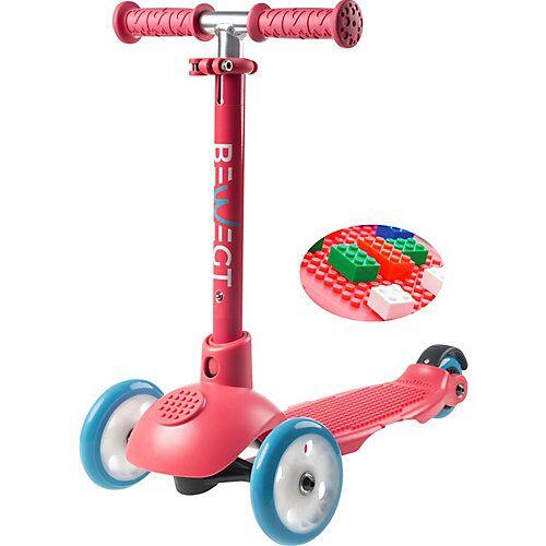 BEWEGT 3-Rollen Kleinkinder Scooter Zum Spielen mit Bausteinen Roller pink