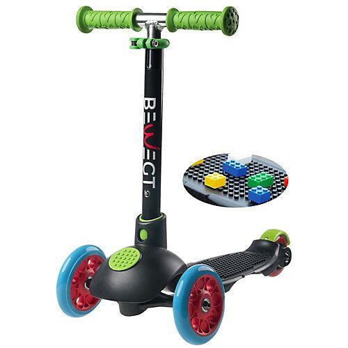 BEWEGT 3-Rollen Kleinkinder Scooter Zum Spielen mit Bausteinen Roller schwarz
