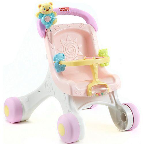 Mattel Fisher-Price Puppenwagen (rosa), Lauflernwagen Mädchen, Lauflernhilfe, Laufwagen