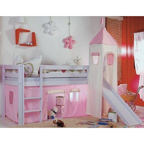 Relita Vorhangset Spielbett KIM, ALEX mit Turm, rosa/weiß  Kinder
