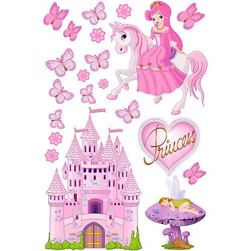 Wandtattoo Prinzessinnenwelt, 21-tlg. rosa