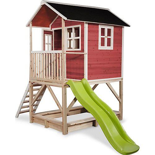 """EXIT """"Spielhaus """"""""Loft"""""""" mit Veranda, Sandkasten und Rutsche, rot, ca. 118 x 328 x 255 cm"""""""