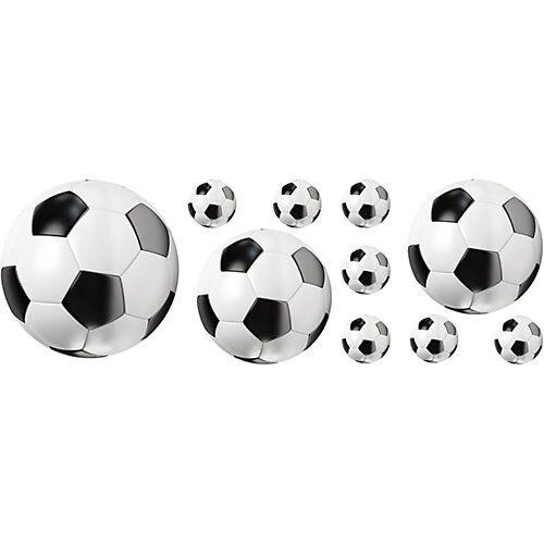 Wandsticker Fußball, 10-tlg. weiß