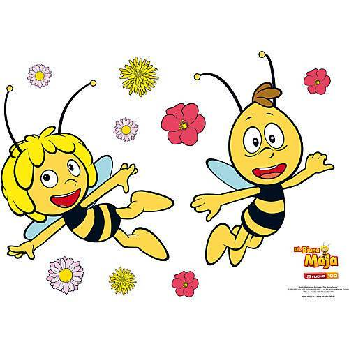 Bienemaja Wandsticker Biene Maja und Willi, 67 x 47 cm gelb