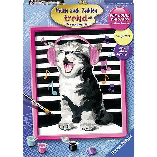 Ravensburger Malen nach Zahlen trend, 24x30 cm, mit Bilderfirnis, Singing Cat