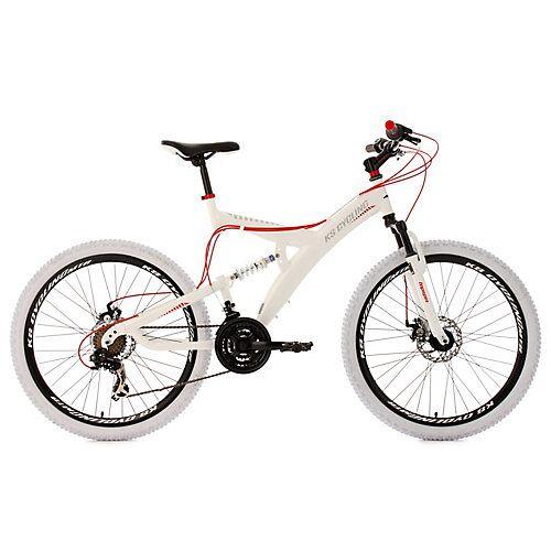 KS Cycling Fully Mountainbike 21 Gänge Topspin 26 Zoll weiß-rot Mountainbikes