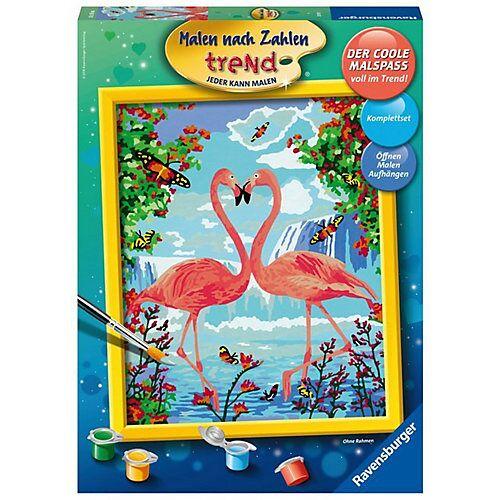 Ravensburger Malen nach Zahlen trend, 24x30 cm, mit Bilderfirnis, Flamingo Love