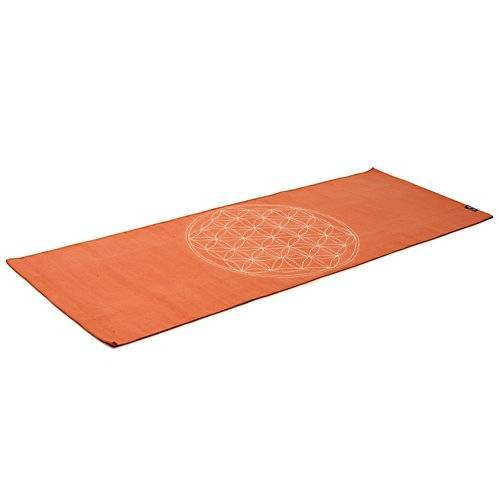 Yogishop Yogateppich cotton rug - flower of life - mocca/creamBasis-Yogamatten beige-kombi