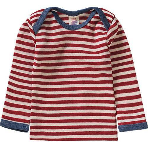 ENGEL Baby Unterhemd aus 100% Merinoschurwolle rot/natur