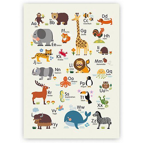 byGraziela Poster Tier ABC hellbraun, 50 x 70 cm beige