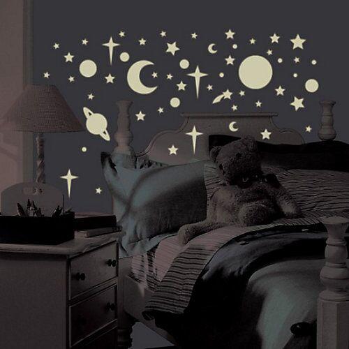 RoomMates Wandsticker Leuchtsterne & Planeten, Glow in Dark, 258-tlg. weiß