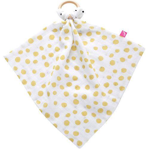 Motherhood Schmusetuch mit Beissring aus Holz - Kleckse gelb