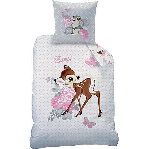 CTI Kinderbettwäsche, Disney Bambi, Flanell, 100 x 135 cm + 40 x 60 cm weiß