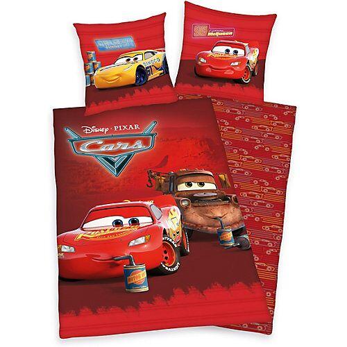 Herding Wende-Kinderbettwäsche Cars, Renforce, 135 x 200 + 80 x 80 cm rot