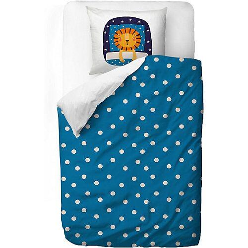 Mr. Little Fox Kinderbettwäsche, Löwe, 135 x 200 cm blau