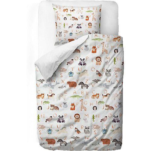 Mr. Little Fox Kinderbettwäsche, Tier ABC, 135 x 200 cm weiß