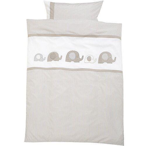 myToys-COLLECTION Kinderbettwäsche Elefant, Renforcé, 100 x 135 + 40 x 60 cm von Alvi grau