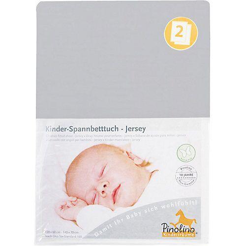 Pinolino Jersey-Spannbetttücher Kinderbetten, grau, 2er Set  Kinder