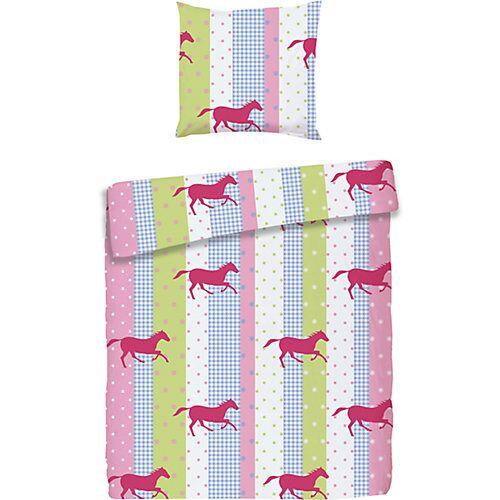 myToys-COLLECTION Kinderbettwäsche Pferde, Biber, rosa, 135 x 200 cm + 80 x 80 cm