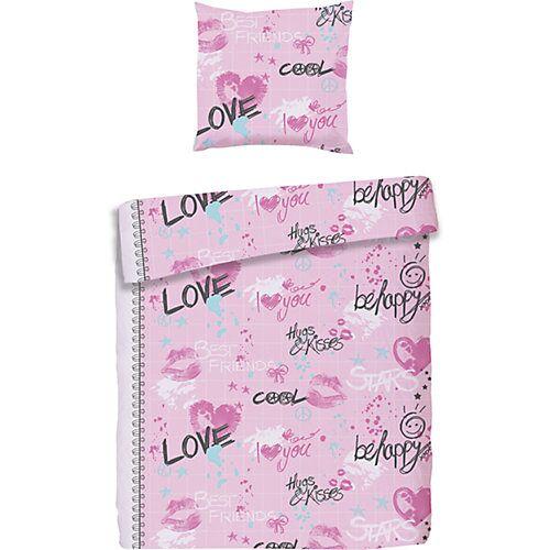 myToys-COLLECTION Kinderbettwäsche Love, Biber, rosa, 135 x 200 cm + 80 x 80 cm