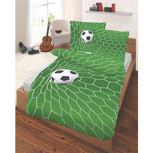 myToys-COLLECTION Kinderbettwäsche Fußball, Renforcé, grün, 135 x 200 cm von Dobnig