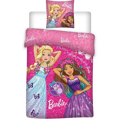 Barbie Kinderbettwäsche Barbie, Renforcé, pink, 135 x 200 cm + 80 x 80 cm