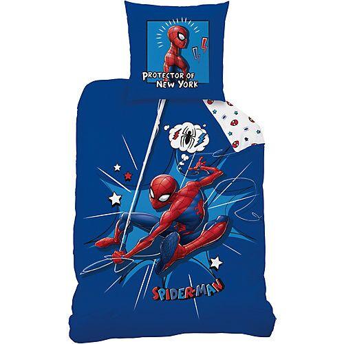 CTI Wende-Kinderbettwäsche Spiderman Protector, 135 x 200 cm blau/weiß