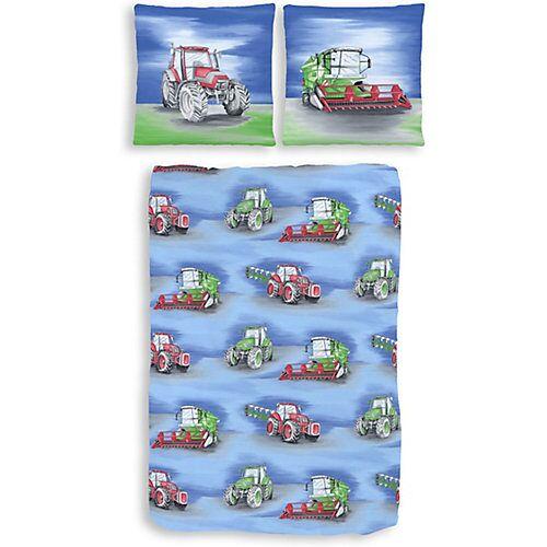 Dobnig Kinderbettwäsche Traktor, Biber, blau, 135 x 200 cm