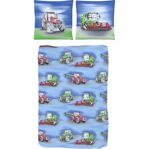 Dobnig Kinderbettwäsche Traktor, Renforcé, blau, 135 x 200 cm