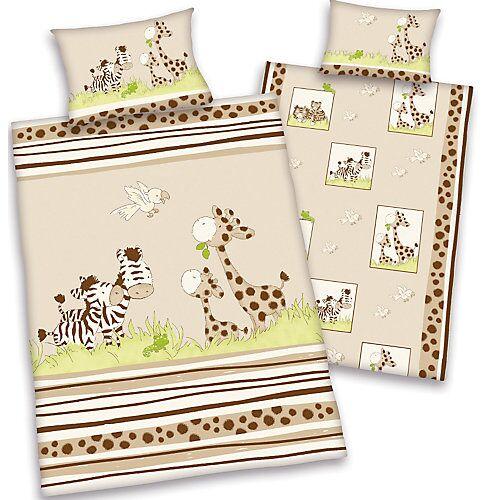 Herding Wende- Kinderbettwäsche Jana Safari, Linon, 100 x 135 cm beige