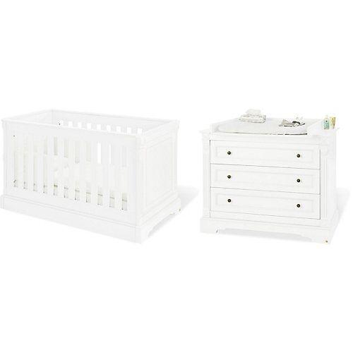 Pinolino Sparset EMILIA (Kinderbett, Wickelkommode breit), MDF weiß