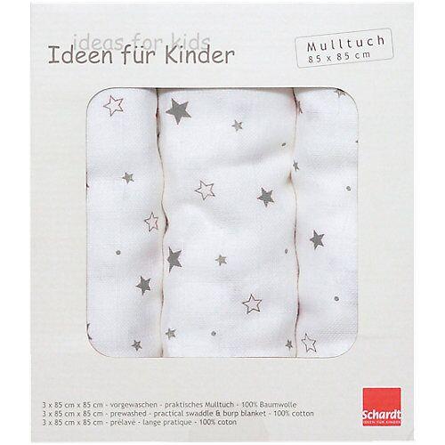 Schardt Mulltücher STERNCHEN grau, 3er Pack