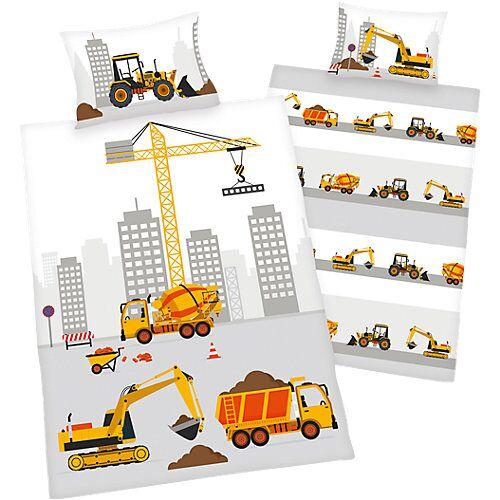 Herding Wende- Kinderbettwäsche Baustelle, Renforcé, 100 x 135 cm weiß