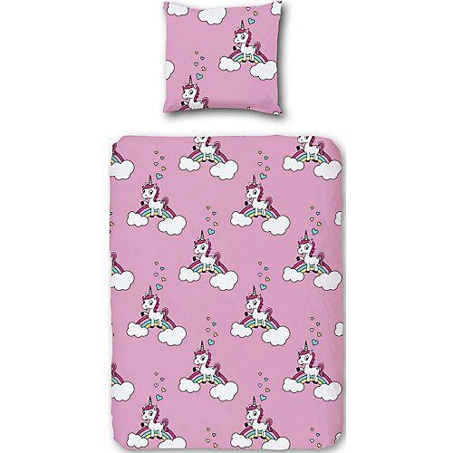myToys-COLLECTION Kinderbettwäsche Einhorn, Biber, 135 x 200 cm pink